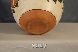 Vintage Southwest Native American Acoma Pueblo Pottery Polychrome Olla 1970s