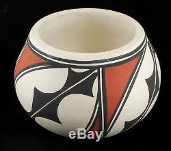 Vintage Tigua Indian Pueblo Irene Native American Pottery Bowl Mouth Teeth