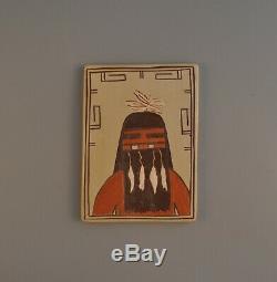 Vintage Traditional Hopi Indian Pottery Tile Kachina Jean Sahmie