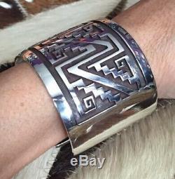 Vintage Watson Honanie Hopi Sterling Pueblo Pottery Overlay Wide Cuff Bracelet