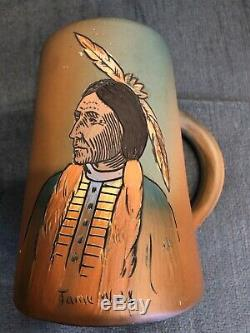 Vintage Weller Dickens Ware Pottery Native American Tame Wolf Flat Footed Mug