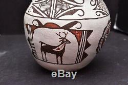 Vintage Zuni Pueblo Seed Pot Pictorial Pottery 6 atq Native american Olla jar
