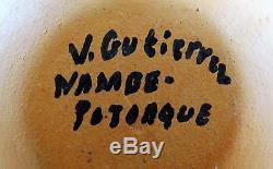 Virginia Gutierrez Signed Nambe Pojoaque Native Pottery Polychrome 3 Seed Pot