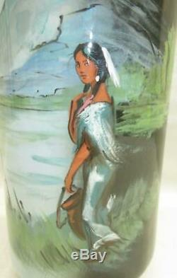 Vntg Rick Wisecarver Blue 17 1/2T x 4 1/2 W Vase Native American Woman RARE