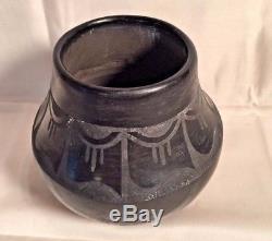 Vtg Native American Black Black Pottery Vase Bowl PETRA Gutierrez Santa Clara