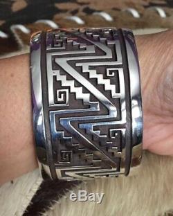 Vtg Ooak Watson Honanie Hopi Sterling Pueblo Pottery Overlay Wide Cuff Bracelet