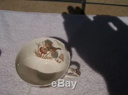 WINDSOR WARE BY JOHNSON BROS NATIVE AMERICAN WILD/FLYING TURKEY 2 CUPS & SAUCERS
