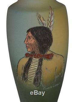 Weller Pottery Dickens Ware Native American Blue Hawk Vase (Pickens)