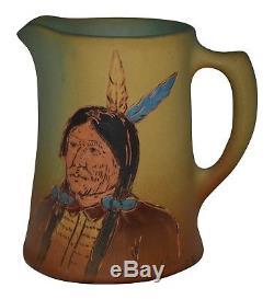 Weller Pottery Dickens Ware Native American Creamer (Artist Signed)