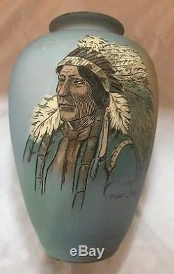 Weller Pottery Dickensware Native American Indian Vase Black Bear 10 Dautherty