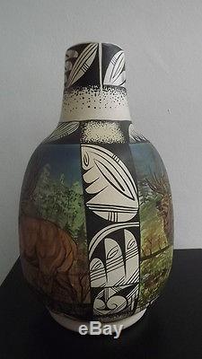 Westly Begaye 1986 Navajo Pueblo Art Ceramic Pottery Painted Glazed Vase Deer