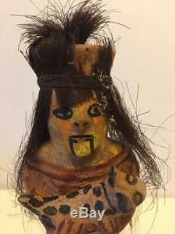 Yuma Indian Pottery Doll Figure Holding Animal, Signed