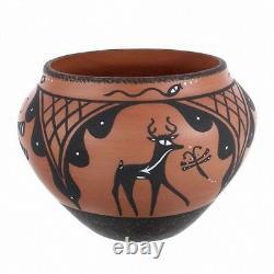 ZUNI Pueblo NM 6.25 FINE Polychrome Olla Pottery Native American Designs Signed