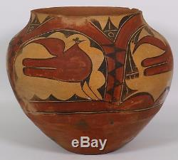 Zia Pueblo Bird Jar VERY Large noted water marks Native American Pottery olla