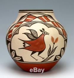 Zia Pueblo Native American Indian Pottery Bird Olla Elizabeth Medina