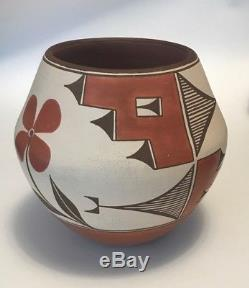 Zia Pueblo Polychrome Pot Jar Native American Signed Dolorita Pino Southwest