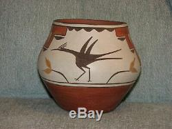 Zia Pueblo Roadrunner Polychrome Jar sgnd Eusebia Shije Native American Pottery