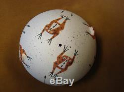 Zuni Indian Pottery Hand Coiled Frog Seed Pot by Marcus Homer