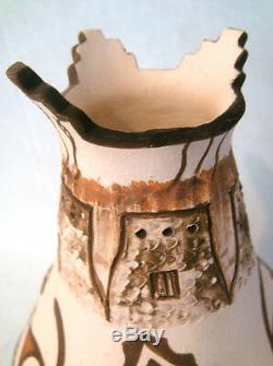 Zuni Pueblo Hand Coiled Pottery by G. Katsenih Native American 7H-RARE