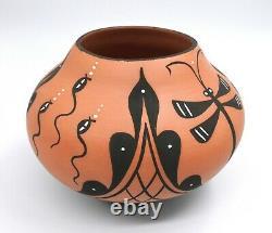 Zuni Pueblo Pottery by A Peynetsa Dragonfly Vase Large 6 T x 8 W